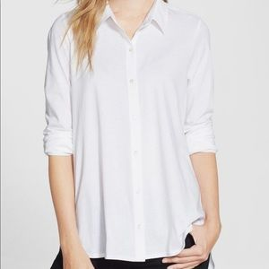 Eileen fisher white organic cotton b.down shirt